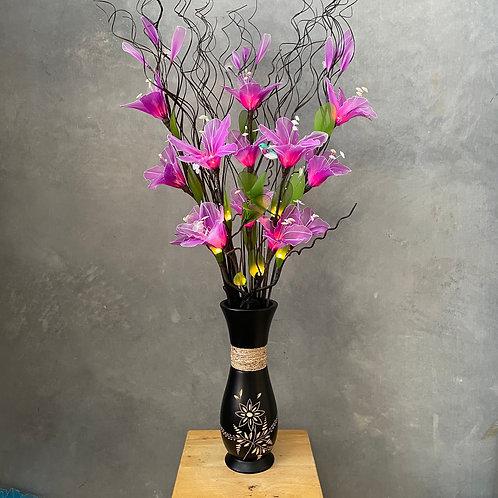 "Flower light (purple) arrangement  with 5""x14""vase"