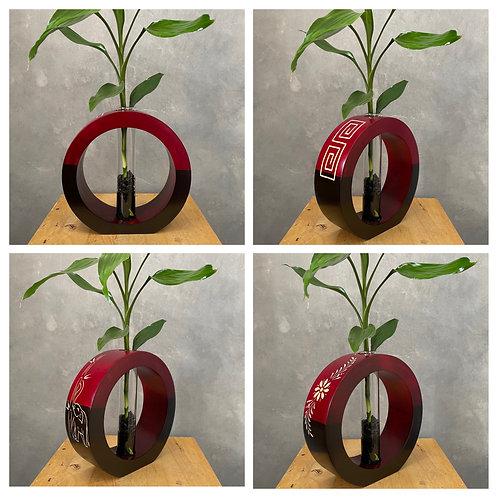 """8""""Mango wood vase red bc"""