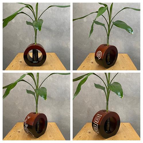 "5""Mango wood vase brown bc"