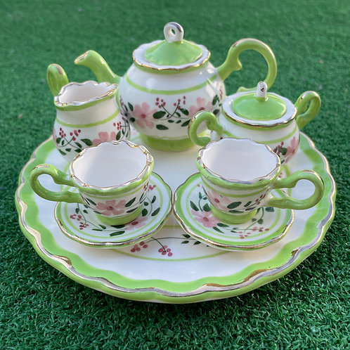 Miniature ceramic tea set green