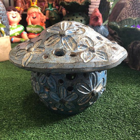 Terracotta mushroom garden ornament sm
