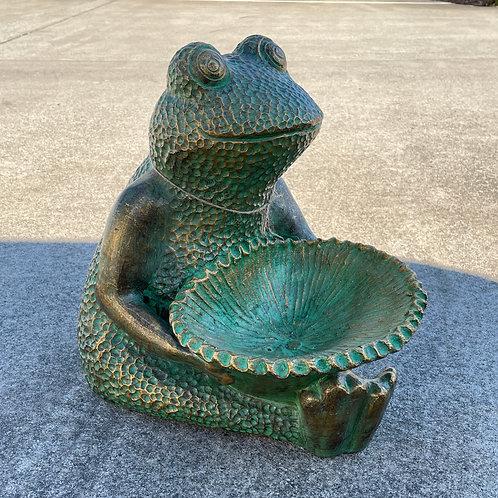 Terracotta sitting frog bird bath