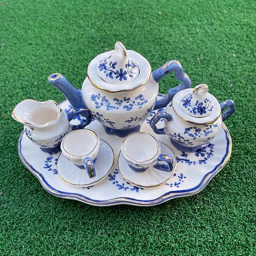 Miniature ceramic tea set blue
