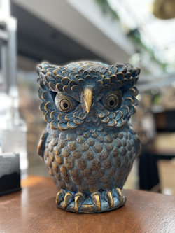 Terracotta owl ornament sm blue