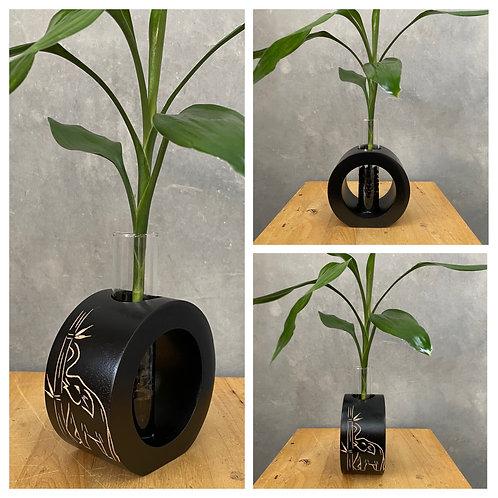 """5""""Mango wood vase black  bc"""