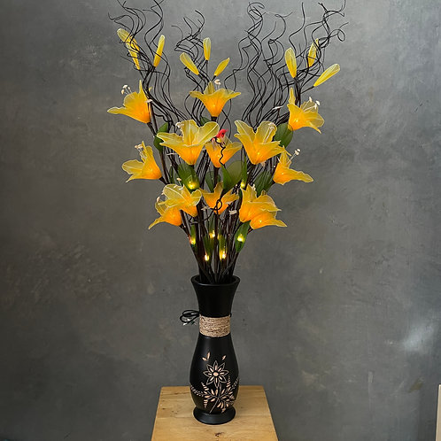 "Flower light (yellow) arrangement  with 5""x14""vase"