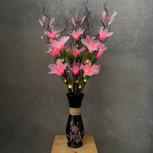 "Flower light (pink) arrangement  with 5""x14""vase"