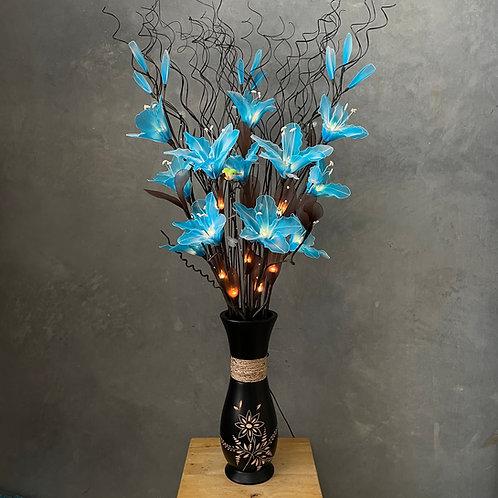 "Flower light (blue) arrangement  with 5""x14""vase"