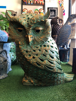 Terracotta owl planter lg green