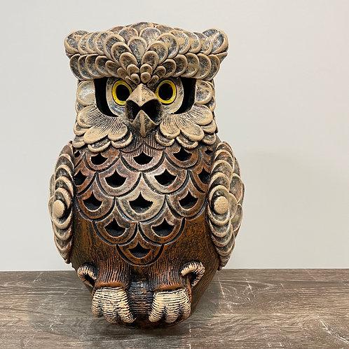 Terracotta owl ornament brown