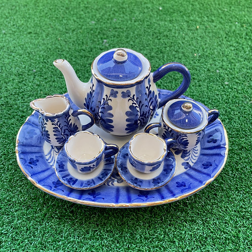 copy of Miniature ceramic tea set  oval blue