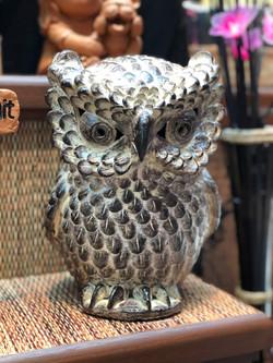 Terracotta owl ornament sm brown