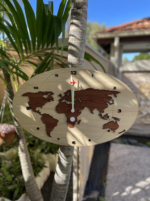 World map clock lg