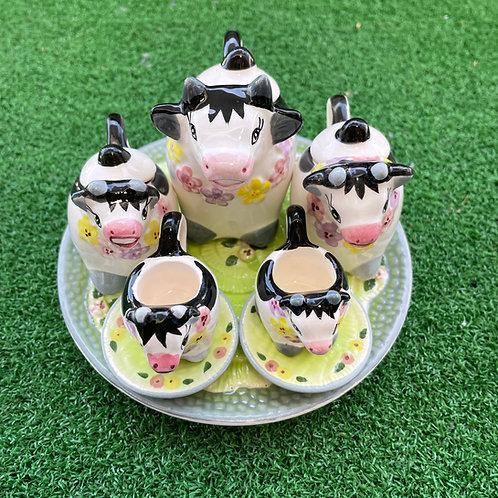 Miniature ceramic tea set cow green