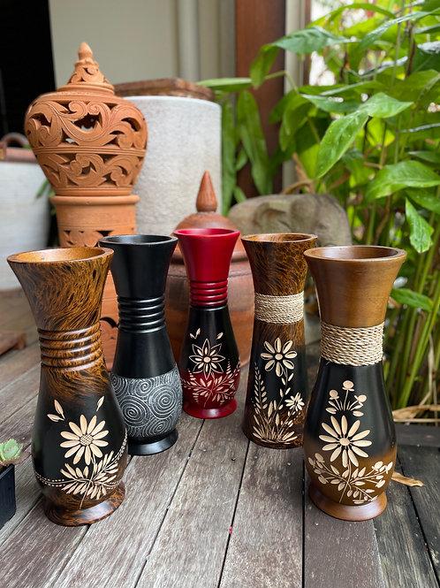 """Mango wood vase 5""""14"""""""