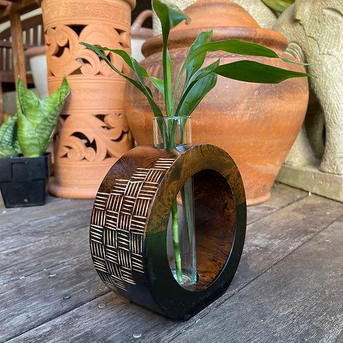 """6"""" Mango wood vase  brown tg  bc"""