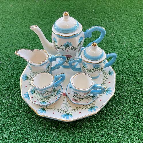 Miniature ceramic tea set light blue