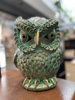 Terracotta owl ornament sm green
