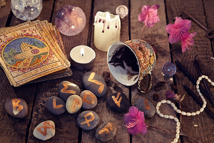 Divination rite with coffee and stone ru