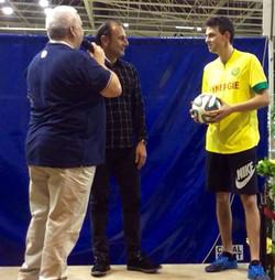 Michel Der Zakarian et Corentin Baron show freestyle foot basket nantes match