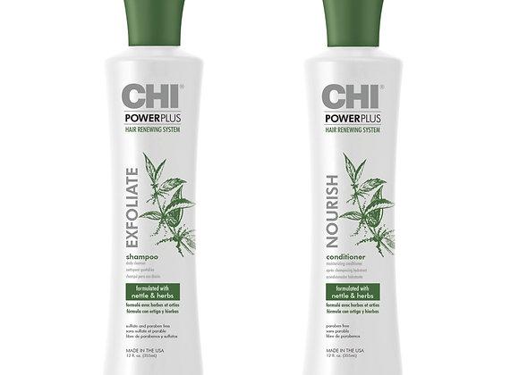 Farouk CHI Power Plus Exfoliate Shampoo - Step 1 & Nourish Conditioner - Step 2