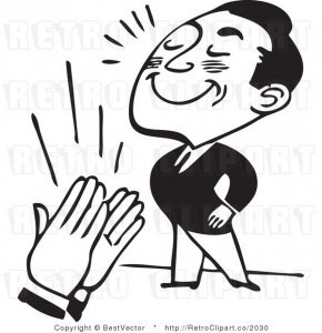 royalty-free-black-and-white-retro-vector-clip-art-of-a-man-being-applauded-by-bestvector-2030