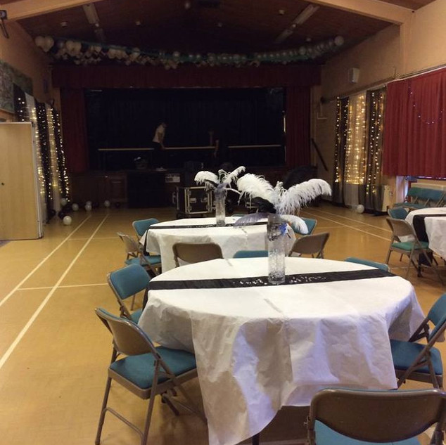 Tables set out for an event