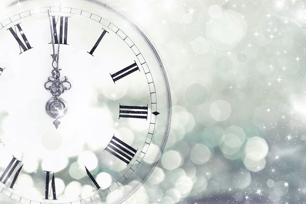 New Year's at midnight - Old clock with