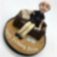 Custom man on sofa cake topper HD Caks Yorkshire