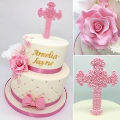 Pink Girls Christening Cake, Leeds Yorkshire HD Cakes