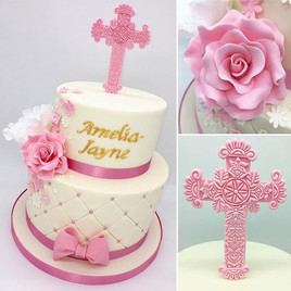 Pink Girls Christening Cake, Leeds Yorkshire HD Cakes
