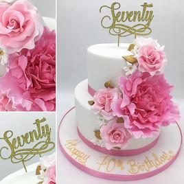 Seventy Birthday Cake, Leeds Yorkshire Cake, Floral Peonies and Roses 2 tier Cake, Birthday Cake, Leeds, Yorkshire, HD Cakes