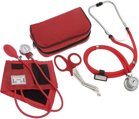 Nurse/EMT Starter Pack Stethoscope, Blood Pressure Monitor (Red)