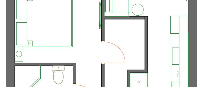 Планировка однокомнатной квартиры на бульваре Карбышева