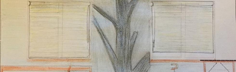 мощное дерево соединяет пространство