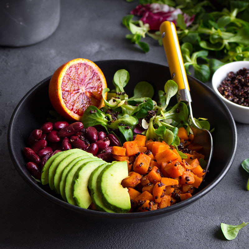 salad with sweet potatoes beans avocado and grapefruit