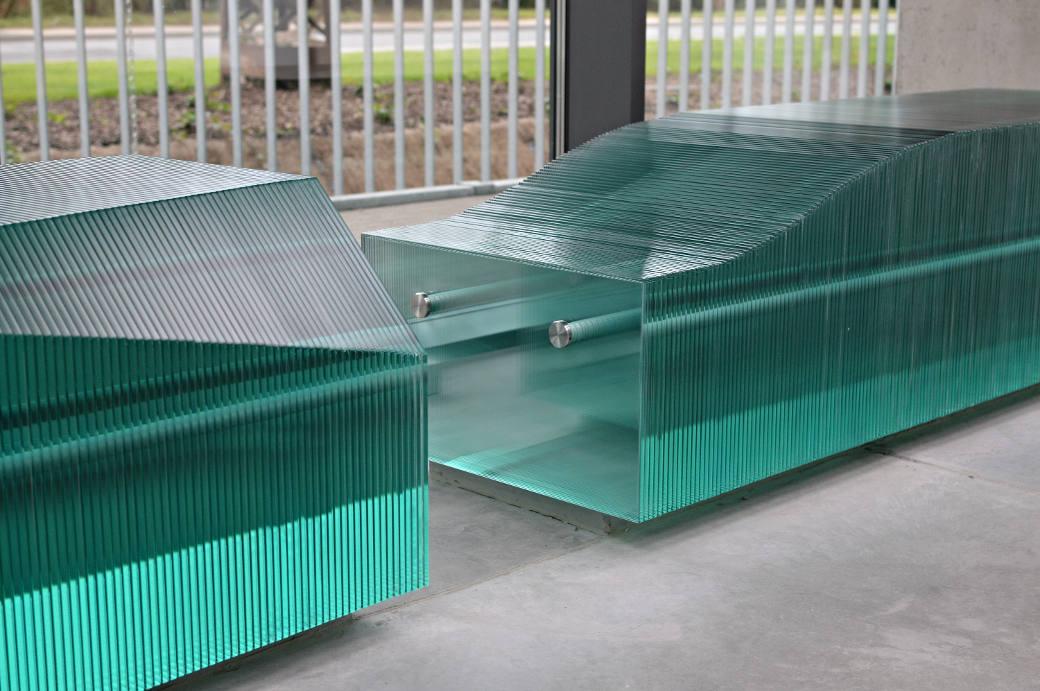 Stacked Glass Benches