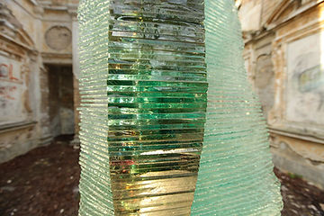 Layered Glass Sculpture Post Procella aka After The Storm details: glass coatings