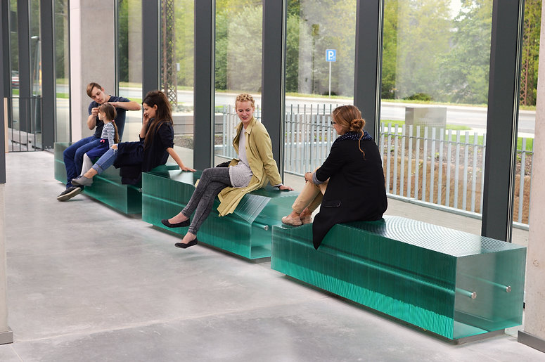 Layered Glass Benches at the New Academic Center for Natural Sciences of the University of Latvia, by Ernest Vitin