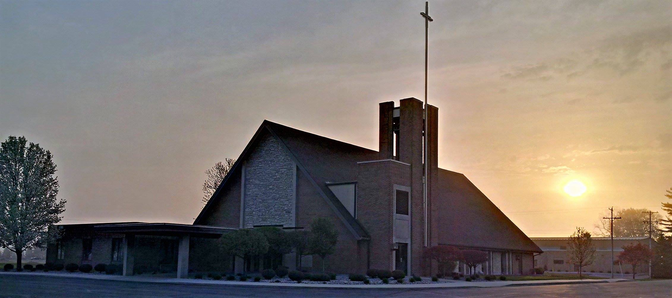 church photo at sunrise