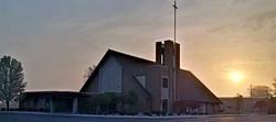 church photo at sunrise