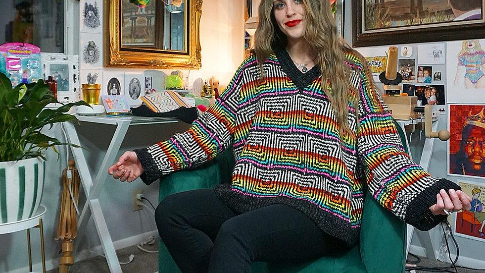 """""""The Swirly Sweater"""" Knitting Patter 10 sizes"""