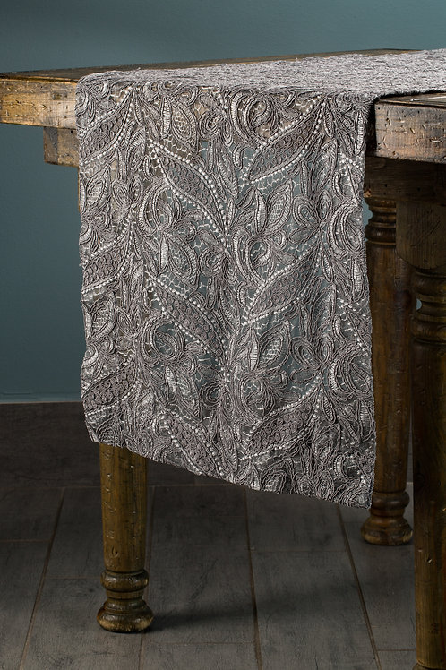 Specialty Silver Ornamental Lace Runner