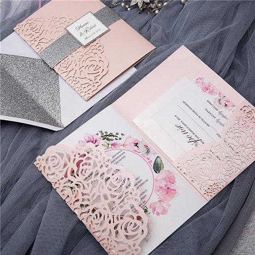 Pink Rose Pocket Laser Cut Set