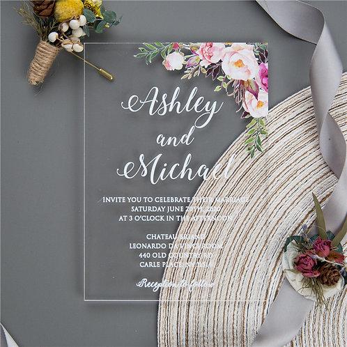 Blush Flowers Acrylic Invitation