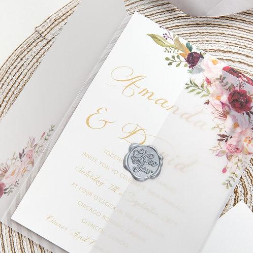 Marsala Vellum Floral Invitation Set