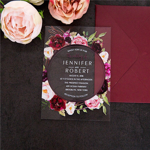 Burgundy Acrylic Invitation