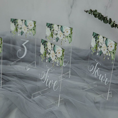 Greenery andWhite Rose Acrylic Table Numbers with Stand