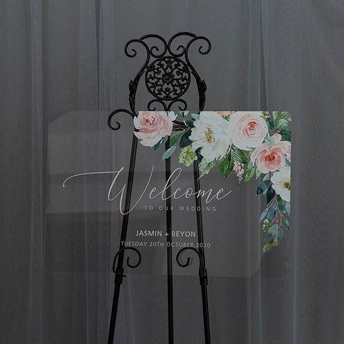 Blush Acrylic Welcome Sign