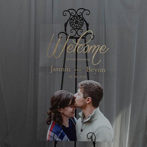 Photo Portrait Acrylic Welcome Sign